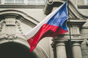Czech flague waving on the wind